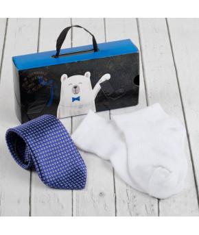 """Набор детский """"Для самого делового"""" галстук 28 см, носки 14 р-р, п/э, синий/белый   2583762"""