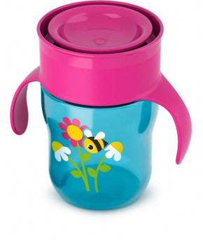 Поильник Avent взрослая чашка розово-синяя 260мл, 9+