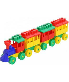 """Конструктор """"Polesie"""" Паровоз с тремя вагонами"""