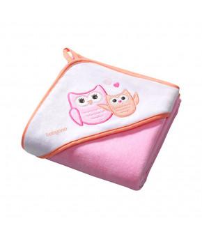 Полотенце BabyOno с капюшоном, розовое 76х76см