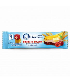 """Батончик """"Gerber"""" DoReMi, с бананом и вишней 25г"""
