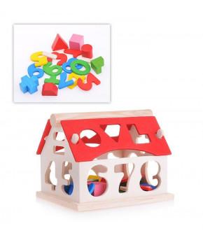 Развивающая игрушка-сортер Домик деревянный
