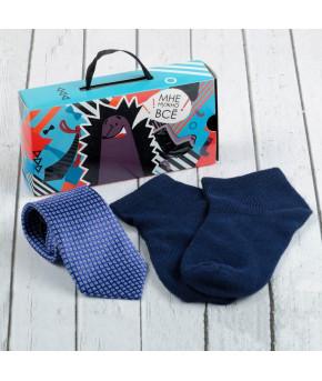 """Набор детский """"Маленький мужчина"""" галстук 28 см, носки 14 р-р, п/э, синий/синий   2583763"""