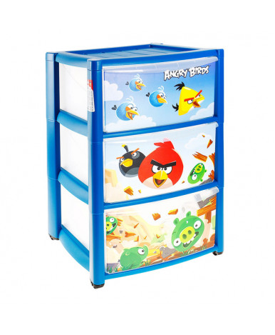 Комод Пластишка с аппликацией на колесах Angry Birds 3 ящика, синий
