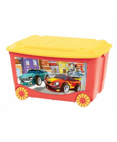 Ящик Пластишка с аппликацией на колесиках Машинки
