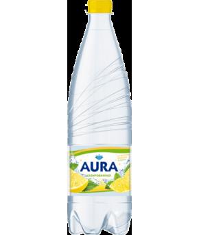 Вода Аура питьевая газированная со вкусом лимона и мяты 1л