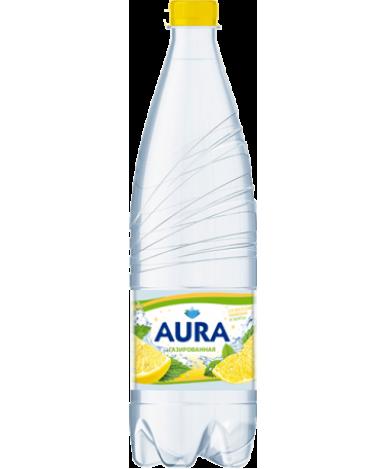 Вода AURA питьевая газированная со вкусом лимона и мяты 1,0л