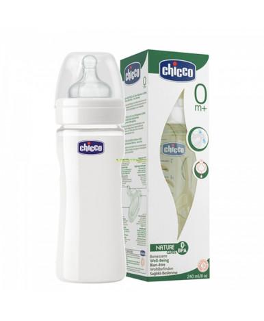"""Бутылочка """"Chicco"""" Well-Being Glass стеклянная с силиконовой соской 240мл, 0+"""