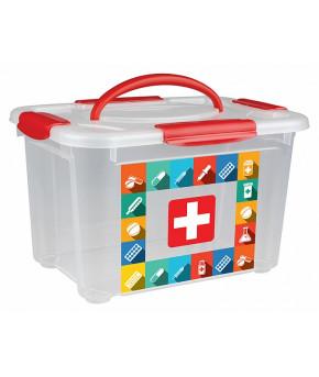 Коробка универсальная Пластишка с ручкой и декором Аптечка 5,5л