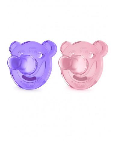 Пустышка Avent Мишка силиконовая для девочки 0-3 мес