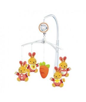 Каруселька BabyMix Зайки с морковкой с плюшевыми игрушками