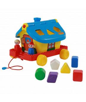 Развивающая игрушка сортер Полесье Садовый домик на колёсиках (в сеточке)