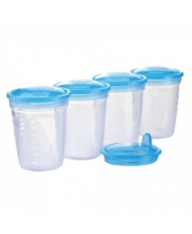 Контейнер BabyOno для хранения молока с крышкой 200мл, 4шт