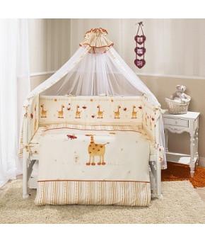 Комплект в кроватку Perina Кроха жирафики оранжевые 7пр