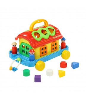 Развивающая игрушка сортер Полесье Сказочный домик на колёсиках (в сеточке)
