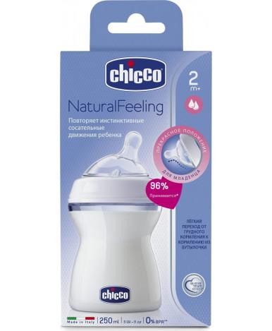 Бутылочка Chicco Natural Feeling с силиконовой соской с наклоном 250 мл 2+