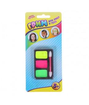 Грим для лица и тела 3 неоновых цвета + аппликатор зеленый желтый розовый