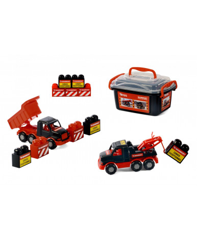 """215-01 """"MAMMOET"""", автомобиль-самосвал + автомобиль-эвакуатор + конструктор (10 элементов) (в контейн"""