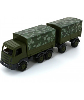Автомобиль бортовой Полесье Престиж тентовый военный с прицепом (РБ)