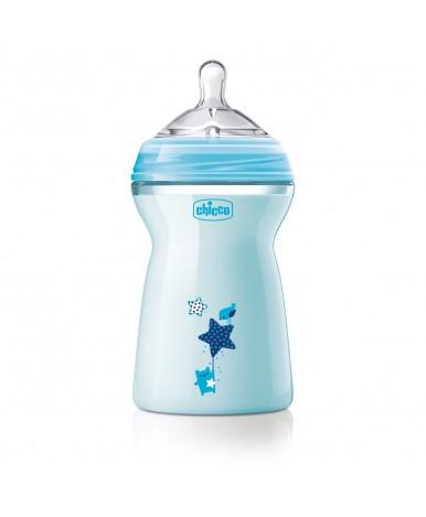 """Бутылочка """"Chicco"""" Natural Feeling с силиконовой соской с флексорами голубая, 330мл"""