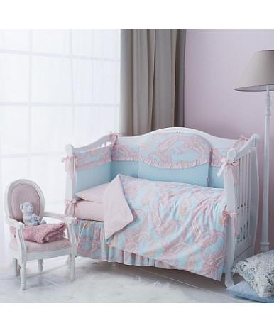 Комплект в кроватку Perina Шантель голубо-розовый 6пр