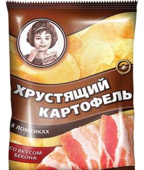 Чипсы Хрустящий картофель в ломтиках со вкусом Бекона 70г/20