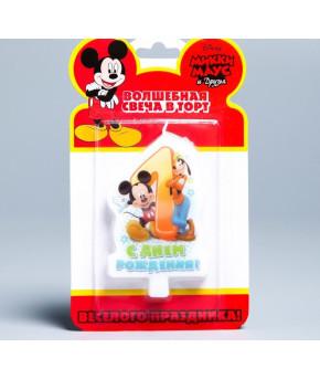 Свеча в торт 1 С днем рождения Микки-Маус