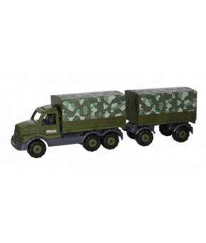 Автомобиль бортовой Полесье Сталкер тентовый военный с прицепом (РБ)
