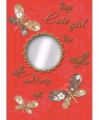 """Ежедневник """"Бабочки на красном"""" с зеркальцем, 240 стр"""