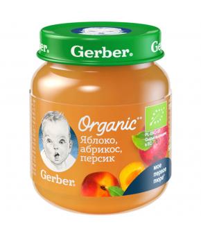 Пюре Gerber Organic яблоко абрикос персик 125г