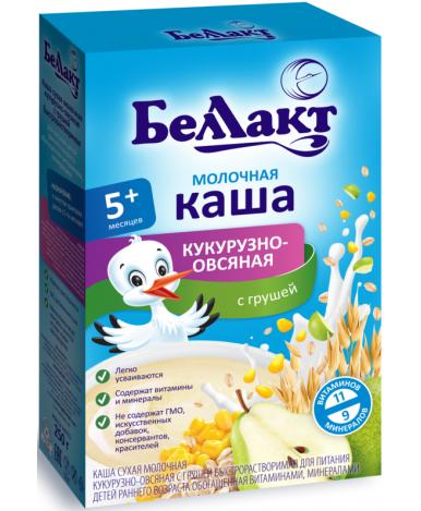 Каша Беллакт кукурузно-овсяная с грушей молочная 250г