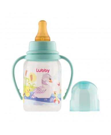 """Бутылочка """"Lubby"""" Веселые животные платисковая латексной соской от 0мес, 125мл"""