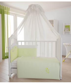 """Комплект в кроватку Fairy """"На лугу"""", белый лайм, (7 педметов)"""