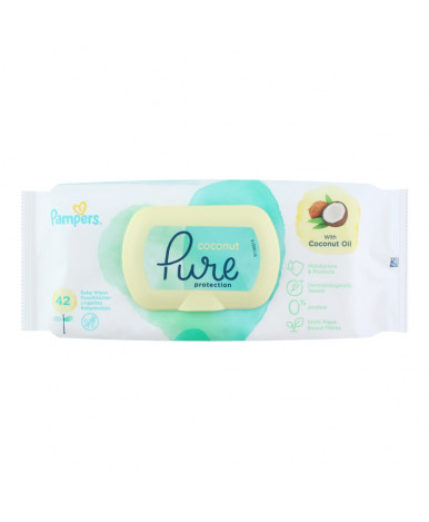 Салфетки влажные Pampers Pure Protection Coconut 42шт