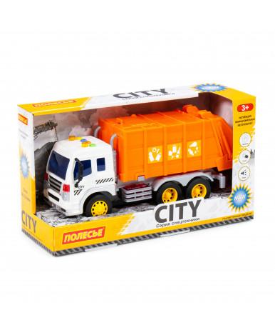 Автомобиль - коммунальный инерционный Полесье со светом и звуком оранжевый (в коробке)