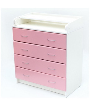 Комод Bambini B 01 белый/розовый, 4ящика