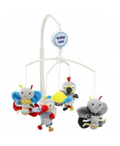 Каруселька BabyMix Попугаи и бабочки с плюшевыми игрушками