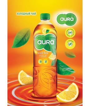 Напиток AURA Iced Tea черный чай с лимоном 0,5л