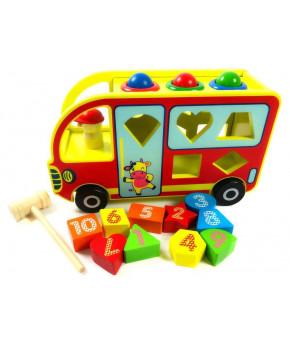 Развивающая игрушка-сортер Автобус деревянная