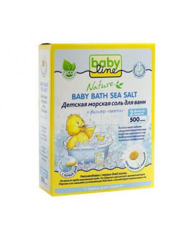 Детская морская соль для ванн BabyLine с ромашкой 500г