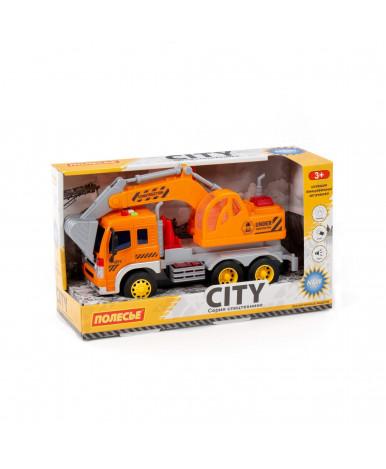 Автомобиль - экскаватор инерционный Полесье Сити со светом и звуком оранжевый (в коробке)