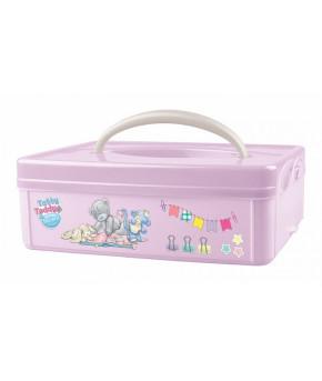 """Коробка универсальная Пластишка с ручкой с аппликацией """"ME TO YOU"""" (розовый), 245х160х108 мм"""