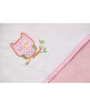 """Полотенце+рукавица Фея """"Совы"""" махровое с капюшоном, розовое 75х75см"""