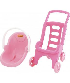"""Коляска Polesie для кукол """"Pink Line 2х1"""" (в сеточке)"""