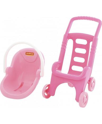 Коляска Полесье для кукол Pink Line 2х1 (в сеточке)