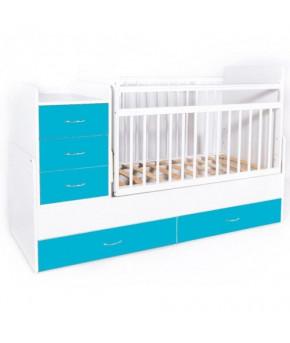 Кровать трансформер Bambini М 01, белый/голубой