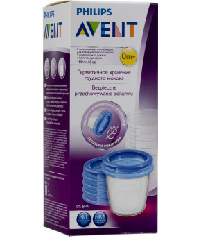Контейнер Avent для хранения грудного молока с крышками 180мл 0+