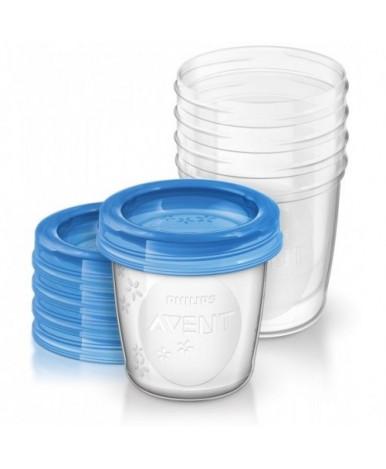 Контейнер Avent для хранения грудного молока с крышками 180мл, 0+