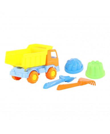 Автомобиль-самосвал + совок Полесье №2, грабельки №2, 2 формочки Набор №189 Салют