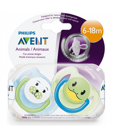 Пустышка Avent Веселые зверюшки силиконовая для мальчика 6-18 мес
